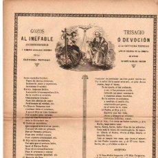 GOZOS AL INEFABLE MISTERIO DE LA SANTISIMA TRINIDAD. CIRCA 1890