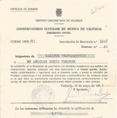 Documentos antiguos: == Z95 - PAPELETA DE EXAMEN - CONSERVATORIO SUPERIOR DE MUSICA DE VALENCIA - 1981. Lote 55357715