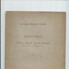 Documentos antiguos: 1895 - EXPOSICION REGIONAL FILIPINA - DISCURSO ANGEL AVILES. Lote 55380894