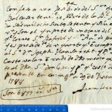 Documentos antiguos: CARTAGENA RARO DOCUMENTO MANUSCRITO FIRMA FERRAGUT DICIEMBRE 1.788 . Lote 55394978