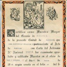 Documentos antiguos: AA TEXTIL-TITULO DE MAESTRO EN EL OFICIO DE PAÑO Y FIELTRO-1968- MUY RARO. Lote 55541237