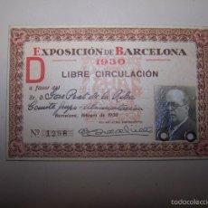 Documentos antiguos: TARJETA ENTRADA LIBRE CIRCULACIÓN EXPOSICIÓN DE BARCELONA 1930. Lote 55783782