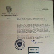 Documentos antiguos: CARTA ORIGINAL FIRMADA POR EL CONDE DE ARTAZA,CONSUL GENERAL DE ESPAÑA EN LONDRES 1949,MURRIETA. Lote 55792791