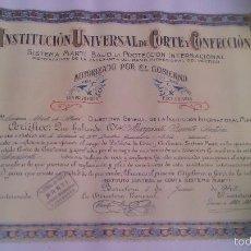 Documentos antiguos: DIPLOMA,INSTITUTO UNIVERSAL DE CORTE Y CONFECCIÓN AUTORIZADO POR EL GOBIERNO,1943.. Lote 55913508