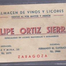 Documentos antiguos: TARJETA DE VISITA PUBLICITARIA. FELIPE ORTIZ SIERRA. LICORES. ZARAGOZA. Lote 55916975