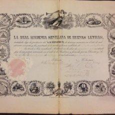 Documentos antiguos: REAL ACADEMIA DE SEVILLA DE LAS BUENAS LETRAS 1851 DIPLOMA A D. MANUEL MONTORO. Lote 56083002