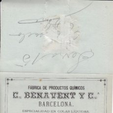 Documentos antiguos: FÁBRICA PRODUCTOS QUÍMICOS BARCELONA 1880 (ZONA CENTRAL ROTA). Lote 56126833