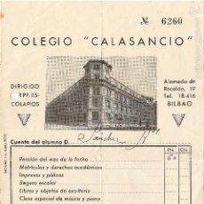 Documentos antiguos: RECIBO, COLEGIO CALASANCIO, PP. ESCOLAPIOS, BILBAO, MENSUALIDAD 1946. Lote 56205394