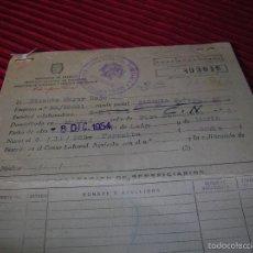 Documentos antiguos: ANTIGUA CARTILLA SANITARIA ,AÑO 1954. Lote 56266246