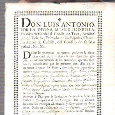 Documentos antigos: DOCUMENTO DE INDULGENCIA CONCEDIDA A LOS DEVOTOS ASISTENTES A LA IGLESIA PARROQUIAL DE TOLOSA. Lote 56276873