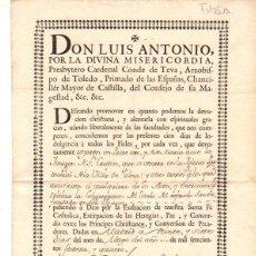 Documentos antigos: DOCUMENTO DE INDULGENCIA CONCEDIDA A LOS DEVOTOS ASISTENTES A LA IGLESIA PARROQUIAL DE TOLOSA. Lote 56277015