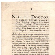 Documentos antiguos: CARTA DE RECOMENDACION DE PRESBITERO DE TOLOSA. GUIPUZCOA. AÑO 1797. Lote 56277157