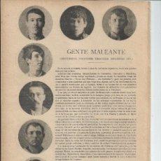 Documentos antiguos: 1897 - GENTE MALEANTE - DESCUIDEROS TOMADORES TIMADORES ESPADISTAS ... JOSÉ DE ROURE. Lote 56301057