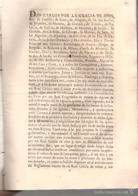 Documentos antiguos: REAL CEDULA RELATIVA A LA CONTRIBUCION SOBRE LOS PRODUCTOS DE LOS BIENES DE LA CORONA. AÑO 1805 - Foto 2 - 56365349