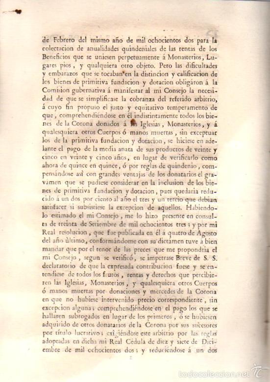 Documentos antiguos: REAL CEDULA RELATIVA A LA CONTRIBUCION SOBRE LOS PRODUCTOS DE LOS BIENES DE LA CORONA. AÑO 1805 - Foto 3 - 56365349