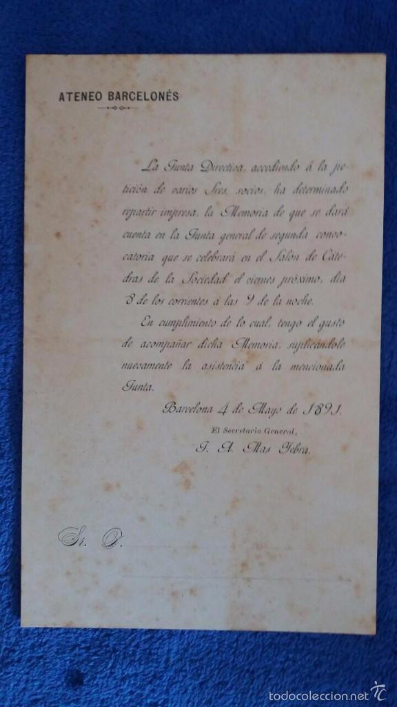 Documentos antiguos: MEMORIA ATENEO BARCELONES 1891 / ADQUISICIÓN NUEVO EDIFICIO - Foto 2 - 56379738