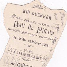 Documentos antiguos: NIU GUERRER BALL DE PIÑATA BORN BARCELONA 1896 12 CTMS. LARGO VER FOTO ADICIONAL. Lote 56433433