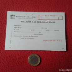 Documentos antiguos: DOCUMENTO INSTITUTO NACIONAL DE LA SEGURIDAD SOCIAL AFILIACION VER FOTO/S Y DESCRIPCION IDEAL COLECC. Lote 56487346