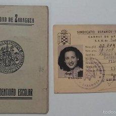 Documentos antiguos: CARNET SINDICATO ESPAÑOL UNIVERSITARIO 1951, Y CARTA DE IDENTIDAD ESCOLAR, UNIVERSIDAD DE ZARAGOZA.. Lote 56516028