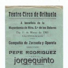 Documentos antiguos: PROGRAMA DE MANO. TEATRO CIRCO DE ORIHUELA, ALICANTE. ZARZUELA LOS GAVILANES. 11 DE MARZO DE 1961.. Lote 56543518