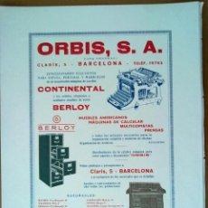 Documentos antiguos: PUBLICIDAD ORBIS MOBILIARIO OFICINA SAGRADA FAMILIA BARCELONA 1929. Lote 56544138