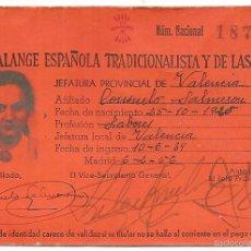Documents Anciens: CARNET DE FALANGE. VALENCIA 1956. Lote 56570943