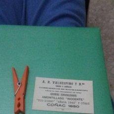Documentos antiguos: TARJETA DE VISITA. VALDESPINO. VINOS Y COÑAC. . Lote 56600551