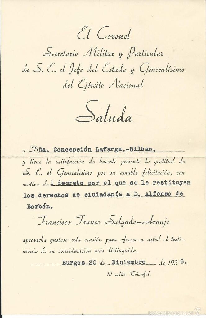 1938 NOTA DE AGRADECIMIENTO DE S.E. EL JEFE DEL ESTADO FRANCISCO FRANCO (Coleccionismo - Documentos - Otros documentos)