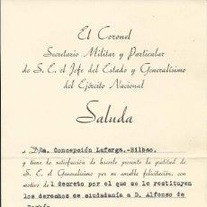Documentos antiguos: 1938 NOTA DE AGRADECIMIENTO DE S.E. EL JEFE DEL ESTADO FRANCISCO FRANCO. Lote 56609909
