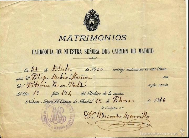 Matrimonio Catolico Documentos : Antiguo certificado de matrimonio en nuestra sr comprar