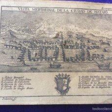 Documentos antiguos: MATARO VISTA MERIDIONAL DE LA CIUDAD - FACSIMIL GRABADO 1783. Lote 56688321