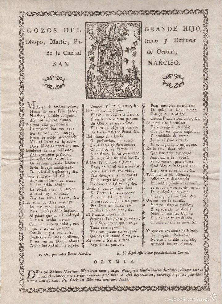 GOZOS A SAN NARCISO ( GERONA. GIRONA) + S. XIX (Coleccionismo - Documentos - Otros documentos)