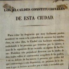 Documentos antiguos: I2-030. BANDO PROHIBIENDO EL USO FESTIVO DE ANTORCHAS. GRABADO. BARCELONA. 1840.. Lote 56614889