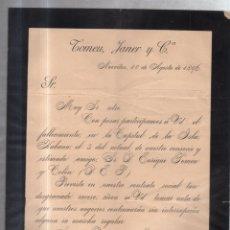 Documentos antiguos: NUEVITAS, CUBA. 1896. TOMEU, JANER Y CA. CIRCULAR ANUNCIANDO SU FALLECIMIENTO. Lote 56732142