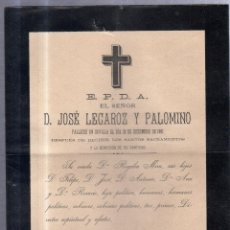 Documentos antiguos: SEVILLA. 1901. ESQUELA CON SELLO DE DON JOSE LECAROZ Y PALOMINO. Lote 56732610