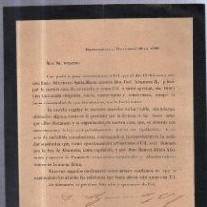Documentos antiguos: BARRANQUILLAS, COLOMBIA. 1897. CIRCULAR ANUNCIANDO FALLECIMIENTO DE DON JOSE ALZAMORA. Lote 56733475
