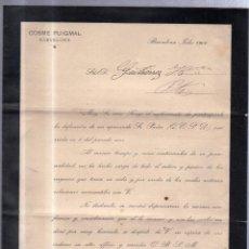 Documentos antiguos: BARCELONA 1906. CIRCULAR ANUNCIANDO EL FALLECIMIENTO DE DON COSME PUIGMAL. Lote 56733602
