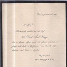 Documentos antiguos: GOTËBORG, 1896. CIRCULAR ANUNCIANDO FALLECIMIENTO DE CARL AXEL BAGGE.. Lote 56733852