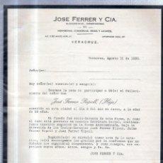 Documentos antiguos: VERACRUZ, 1930. CIRCULAR PARTICIPANDO FALLECIMIENTO DE JOSE FERRER RIPOLL (HIJO). Lote 56735731
