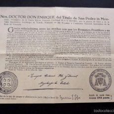 Documentos antiguos: DOCUMENTO AÑO 1953 / INDULTO DE LA LEY DE AYUNO Y ABSTINENCIA / LIMOSMA 1 PESETA. Lote 56738781