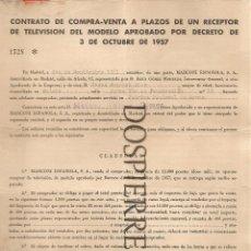 Documentos antiguos: CONTRATO COMPRA-VENTA A PLAZOS DE RECEPTOR TELEVISIÓN, MADRID, 1961. Lote 56741157