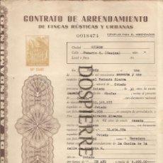 Documentos antiguos: CONTRATO ARRENDAMIENTO FINCAS RÚSTICAS Y URBANAS, OVIEDO, 1961. Lote 56741218