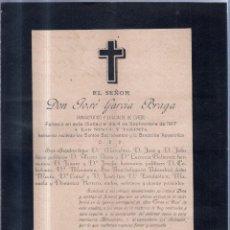 Documentos antiguos: OVIEDO, 1917. ESQUELA DE DON JOSE GARCIA BRAGA, EX-ALCALDE DE OVIEDO. Lote 56749925