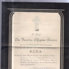 Documentos antiguos: LA LINEA DE LA CONCEPCION, 1955. ESQUELA DE DON FRANCISCO ALFAGEME CARRASCO. CON SELLO. VER. Lote 56811660