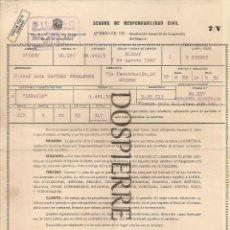 Documentos antiguos: PÓLIZA SEGURO RESPONSABILIDAD CIVIL, AMPLIACIÓN TEMPORAL GARANTÍA, SEGUROS BILBAO, 1962. Lote 56819695