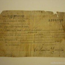 Documentos antiguos: CEDULA PERSONAL AÑO ECONOMICO 1883-1884. SIN TERMINAR DE RELLENAR.. Lote 56829445