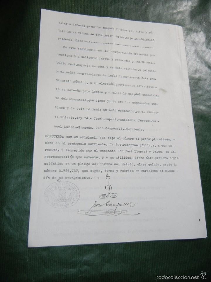 Documentos antiguos: DOCUMENTO NOTARIAL PODER NOTARIA JUAN CAMPASSOL Y CALVELL, BARCELONA 1931 - Foto 2 - 56836476