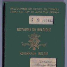 Documentos antiguos: PASAPORTE DE BÉLGICA 1954 MODELO ESTADO MIEMBRO DEL CONSEJO DE EUROPA. Lote 56846161