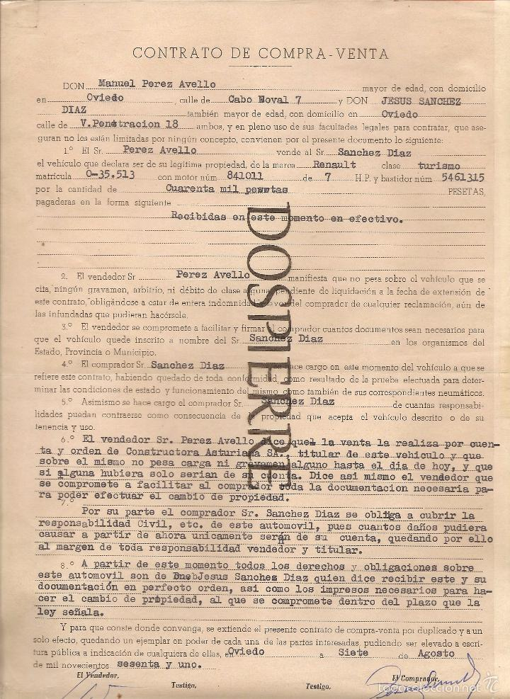 CONTRATO DE COMPRA-VENTA, COCHE RENAULT, OVIEDO, 1961 (Coleccionismo - Documentos - Otros documentos)