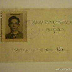Documentos antiguos: CARNET BIBLIOTECA UNIVERSITARIA DE VALLADOLID. AÑO 1949. SELLO 25CTS.. Lote 56860878